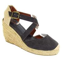 View Item NEW BLACK HESSIAN WEDGE CANVAS SANDALS SHOES SIZE 3-9